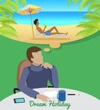 Hombre que sueña sobre vacaciones en la playa Fotos de archivo