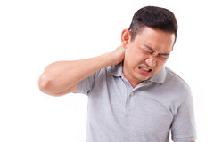 Hombre que sufre de dolor de cuello Imagen de archivo