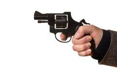 Hombre que tira una arma de mano fotos de archivo