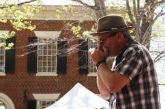 Hombre que toca la armónica en sombrero en el festival Foto de archivo libre de regalías