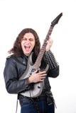Hombre que toca la guitarra eléctrica imagenes de archivo