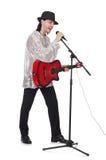 Hombre que toca la guitarra y canto aislado Fotos de archivo