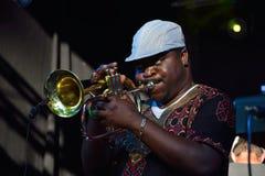 Hombre que toca la trompeta Imagen de archivo libre de regalías