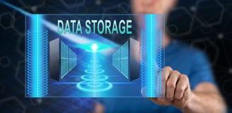 Hombre que toca un concepto del almacenamiento de datos stock de ilustración