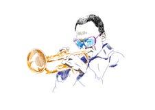 Hombre que toca un instrumento musical ilustración del vector