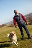 Hombre que toma el perro en paseo en Autumn Countryside Fotos de archivo libres de regalías