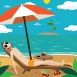Hombre que toma el sol en la playa ilustración del vector