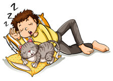 Hombre que toma siesta con el gato del animal doméstico Fotografía de archivo libre de regalías