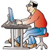 Hombre que trabaja en el ordenador ilustración del vector