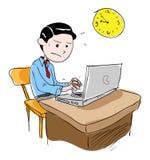Hombre que trabaja en horas extras ilustración del vector