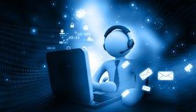 Hombre que trabaja en un centro de atención telefónica stock de ilustración