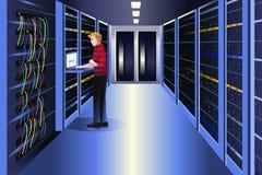 Hombre que trabaja en un centro de datos ilustración del vector
