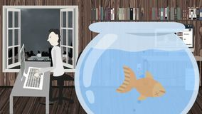 Hombre que trabaja en un ordenador con un pescado muerto en un acuario stock de ilustración