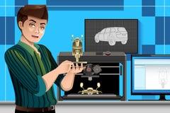 Hombre que usa una impresora 3D stock de ilustración