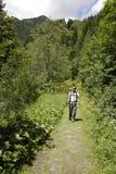 Hombre que va de excursión en verde Imagenes de archivo