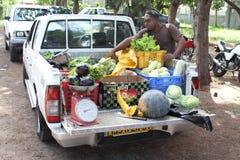 Hombre que vende verduras frescas del camión Fotografía de archivo libre de regalías