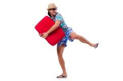 Hombre que viaja con las maletas aisladas Fotos de archivo