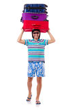Hombre que viaja con las maletas aisladas Imagen de archivo