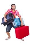 Hombre que viaja con las maletas aisladas Fotografía de archivo libre de regalías