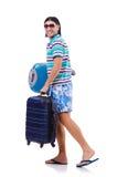 Hombre que viaja con las maletas aisladas Imagenes de archivo
