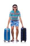 Hombre que viaja con las maletas aisladas Imagen de archivo libre de regalías