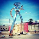 Hombre que viaja Sculpture Imagen de archivo libre de regalías
