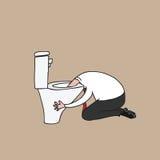Hombre que vomita en el dibujo de la historieta del retrete Foto de archivo