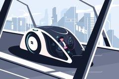 Hombre relajado que conduce en coche elegante ilustración del vector