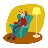 Hombre relajado que escucha el vector de la historieta de la música ilustración del vector
