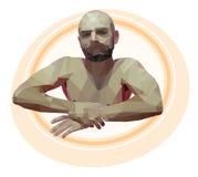 Hombre relajante poligonal Ejemplo geométrico del vector Imagen de archivo libre de regalías