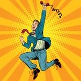 Hombre retro alegre con un microteléfono libre illustration