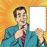 Hombre retro con un arte pop del cartel stock de ilustración