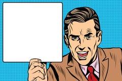 Hombre retro con un arte pop del cartel libre illustration