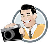 Hombre retro de la historieta con la cámara Fotografía de archivo