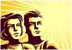 Hombre retro y mujer soviéticos de los pares del estilo de la propaganda que miran en la distancia con el ejemplo inspirado del v libre illustration