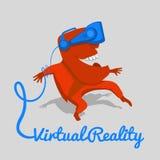 Hombre rojo en un casco azul de la realidad virtual Foto de archivo