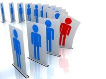 Hombre rojo y hombres azules Para ser distinguido stock de ilustración