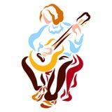 Hombre romántico joven con la guitarra larga de los juegos del pelo