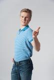 Hombre rubio joven en camisa azul Fotografía de archivo libre de regalías