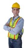 Hombre serio del trabajador de construcción de la unión aislado Fotos de archivo