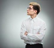 Hombre serio en vidrios en perfil Imágenes de archivo libres de regalías