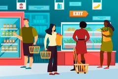 Hombre simple, mujer en el ultramarinos o tienda de alimentos, alameda libre illustration