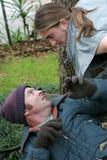 Hombre sin hogar - confrontación Fotografía de archivo