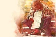 Hombre sin hogar en la calle de la calzada, concepto sin hogar libre illustration