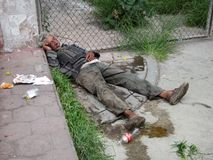 Hombre sin hogar en Rioverde México Foto de archivo