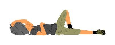 Hombre sin hogar que duerme en la calle en la tierra, vector Situación de la frontera, emigración ilegal y crisis sociales imagen de archivo
