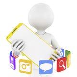 Hombre, smartphone e iconos del app Imagen de archivo