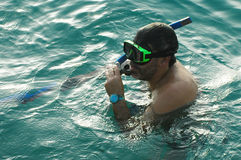 Hombre snorkeling3 Imagen de archivo libre de regalías