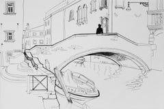 Hombre solo en illustratio arquitectónico del bosquejo de la pluma del puente de Venecia libre illustration