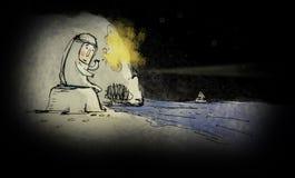 Hombre solo Hombre perdido deprimido que grita Concepto del drama Isla desierta libre illustration
